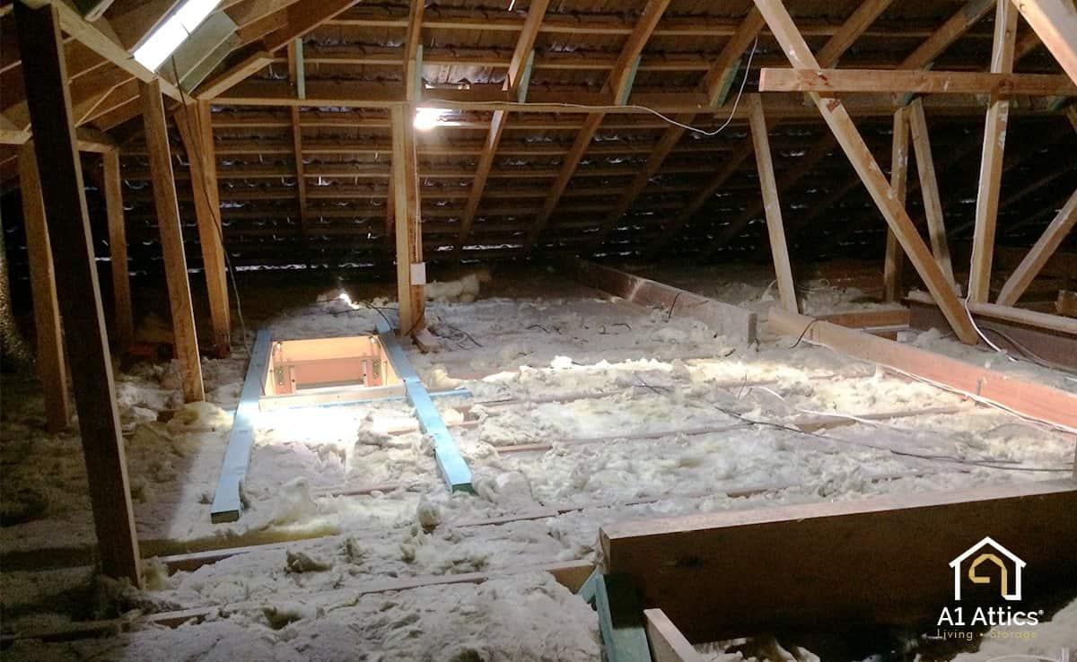 attic storage room before